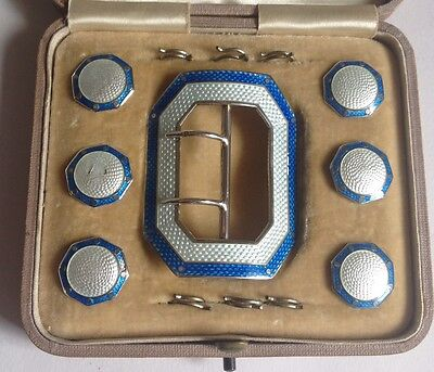 Antique Art Deco Set Of Buttons & Buckle Sterling Silver Light Dark Blue  Enamel