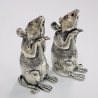 So Cute Mice Mouse Salt & Pepper Cellars Shakers Hallmarked 925 Silver Plate