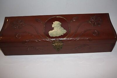 Vintage Victorian Blood Red Ladies Glove/Dresser Box