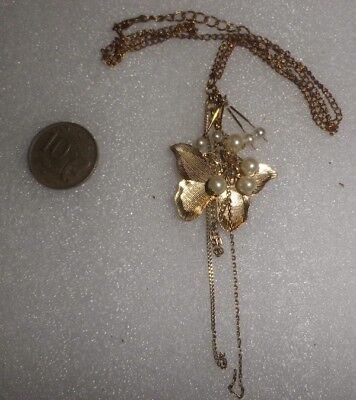 Vintage Butterfly Necklace Pearls gold GP chain -NZ Antique Estate-sweet