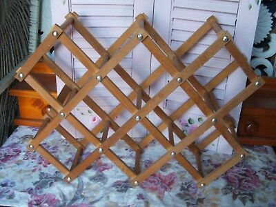 Vintage ~ Foldable ~ Wooden ~ Wine Rack ~ Holds 10 Bottles!