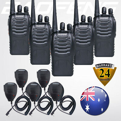 5 PCS Baofeng BF-888S UHF Two Way Ham Radio Walkie Talkies +Handheld Speaker Mic