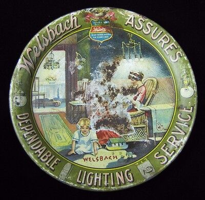 Antique Welsbach Tip Tray 'assures dependable lighting service' tin litho advert