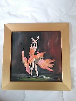 "Signed oil painting of ballet dancer ""Firefly"" in gold frame 10""x10"""