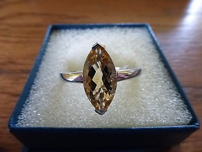 Stunning Large Citrine Solitaire  Ring. Marquise Cut Sterling Silver.size  R