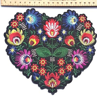 Large Quality Flower Heart Patch Embroidered Retro Applique Iron On Scandi