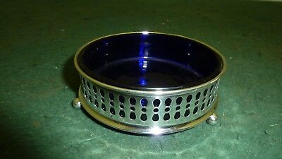 Antique Solid Sterling Silver HM 1906 Pierced  Butter Dish with Blue Glass Liner