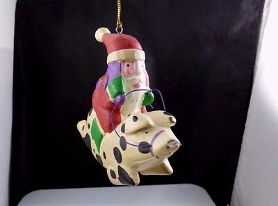 Vintage Wooden? Painted Santa Claus Riding Pig Christmas Holiday Ornament