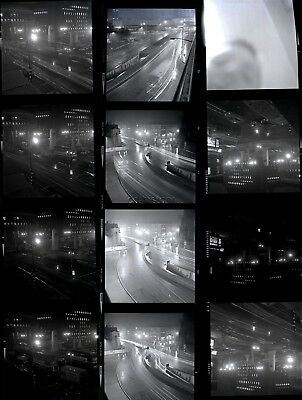 15 B&W Negatives Of Marble Arch London Traffic At Night 1963