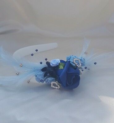 Elegant Navy and Light Blue Fascinator/Headpiece. Diamante Heart detail