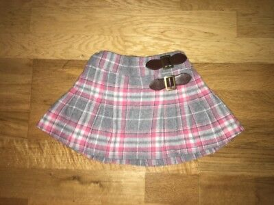 Next Grey And Pink Checked Skirt Size 9-12 Months