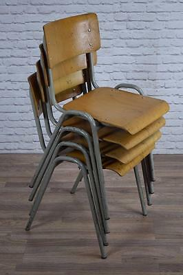 Set of 4 Vintage Industrial Stacking Cafe Bar Kitchen Chairs