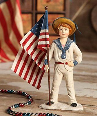 SAILOR BOY With Flag Patriotic Figurine Bethany Lowe 4th of July Americana
