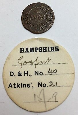 1657 17th Century Farthing - Matthew Ball - Gosport 40 - with old ticket (A296)