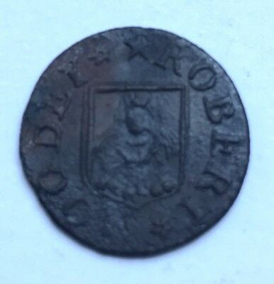 17th Century Farthing - Isleham Robert Moody (portrait) - with old ticket (A299)