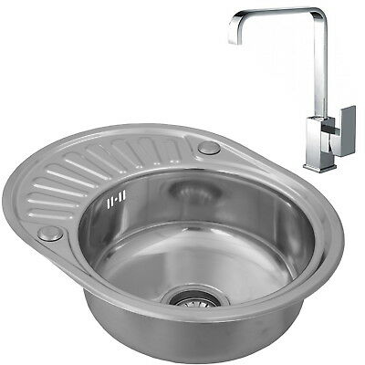 ENKI Single Bowl Inset Round Stainless Steel Kitchen Sink Drainer and Modern Tap