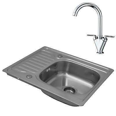 ENKI Compact Single Bowl Inset Square Stainless Steel Kitchen Sink Taps Drainer