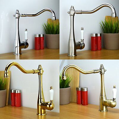 ENKI Traditional Period Regency Single Ceramic Kitchen Sink Mixer Tap HELENA