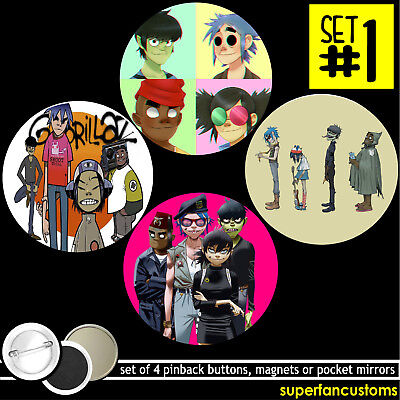 Gorillaz SET OF 4 BUTTONS or MAGNETS or MIRRORS pinback pins badges #1485