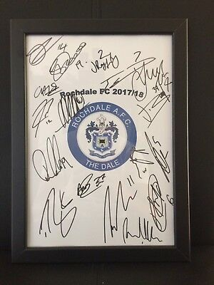 Rochdale FC NEW 2017/18 Hand Signed Framed A4 Autograph Sheet