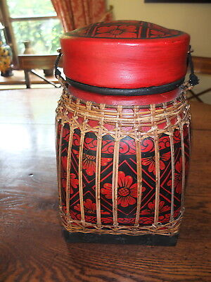 Laquered bamboo basket from South Asia with painted details
