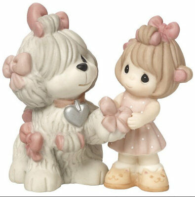 Girl Sheepdog Precious Moments Figurine Love is Patient Dog Curlers Gray NWOB