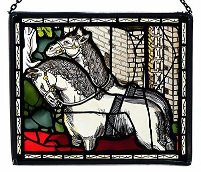 Decorative Hand Painted Stained Glass Rectangular Panel of Two White Horses