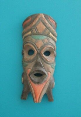 Hand Carved African Tribal Hanging Wood Mask Decor