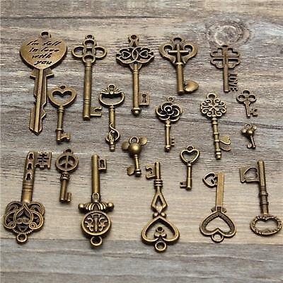 19Pcs Antique Vintage Old Look Skeleton Key Pendant Set Heart Bow Lock Jewel