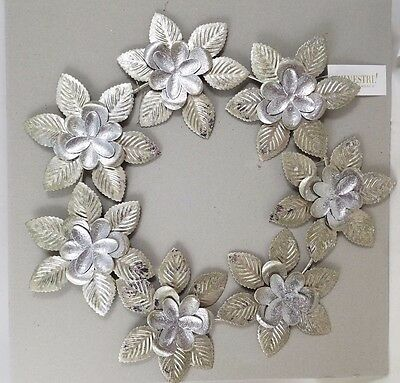 "Silvestri Silver tone 11"" Round Metal Leaf Wreath Christmas and any season use"