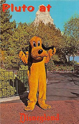 Disneyland postcard Pluto at Disneyland red letters