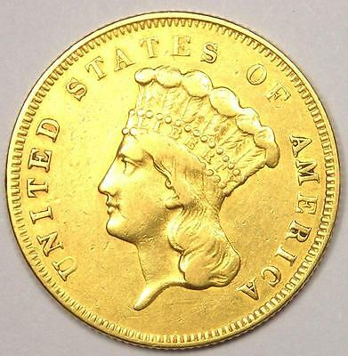 1857 Indian Three Dollar Gold Coin ($3) - XF Details (EF) - Rare Coin!