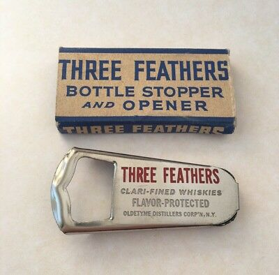 Vintage THREE FEATHERS Whiskies Advertising Bottle Stopper/Opener (Made In USA)