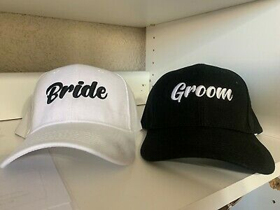 Bride and Groom Embroidered Wedding Hats WITH FREE SHIPPING