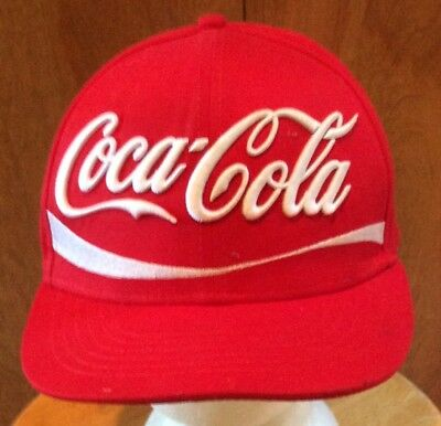 Coca Cola Red White Cap Hat Embellished Logo Tall Crown Snap Back