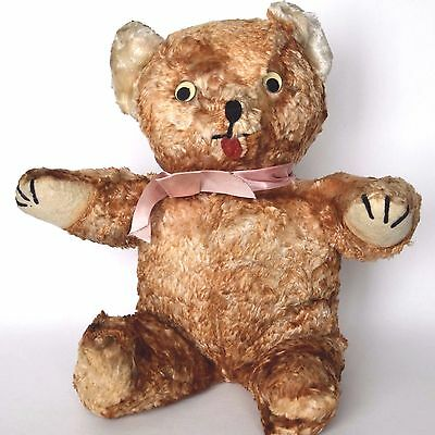 "Vintage wind up musical plush bear 14.5"" brown tipped 1950's stuffed toy WORKS"