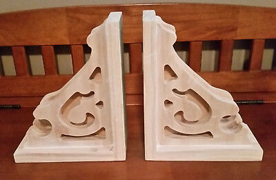 PAIR of Ornate Victorian Style Wood Corbel Shelf Mantle Brackets Unfinished Wood