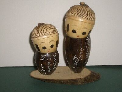 Japanese Vintage Souvenir 2 Kids Wood Kokeshi Dolls Hand Painted Acorn w/Box