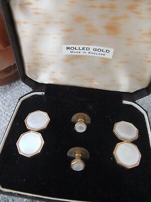 ART DECO ROLLED GOLD AND MOTHER-of-PEARL STUDS AND CUFF LINKS SET - Unused