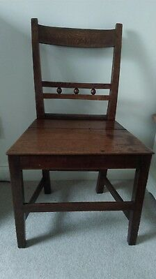 19th Century Oak or Elm Country Ball Back Suffolk Hall Dining Chair Super Patina