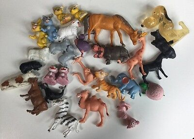 Vintage Lot 28 Farm & Zoo Animals, Snoopy, BB and Mixed Sets HARD PLASTIC