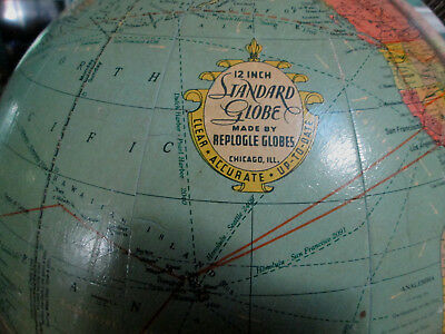 """Vintage/antique 12 """" Globe   By Replogle 1922 Ornate Metal Stand Chicago, Ill"""