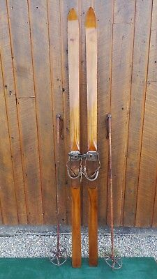 "VINTAGE Wooden 80"" Skis with Metal and Leather Bindings + OLD Bamboo Ski Poles"