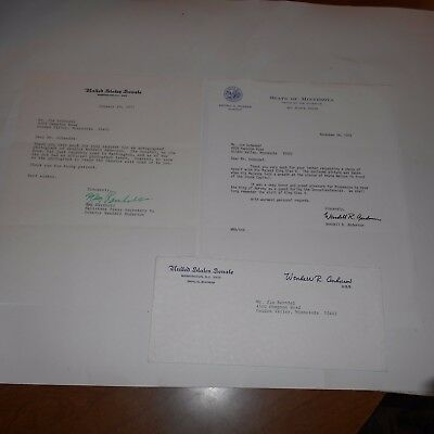 Wendell R. Anderson  Minnesota Politician  Hand Signed Letter w/Envelope