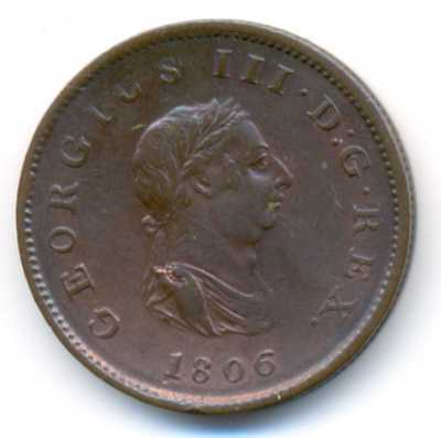UK Great Britain King George III Copper 1/2 Penny 1806 VF