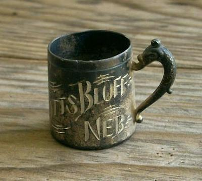 Vintage SCOTTS BLUFF, NEBRASKA Rockford Silverplate Co. Mini-Cup, Fish Handle