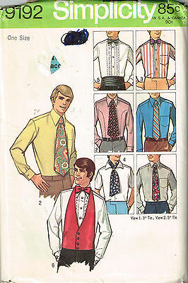Vtg 1970 PATTERN for Variety of Men's TIES & ACCESSORIES Simplicity 9192 UNCUT