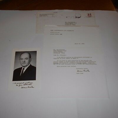 Dean Rusk  US Secretary of State Hand Signed Letter & Photo w/Envelope