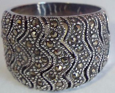 Vintage Art Deco Style Sterling Silver & Marcasite Gothic BAND Ring! 11.5 Grams