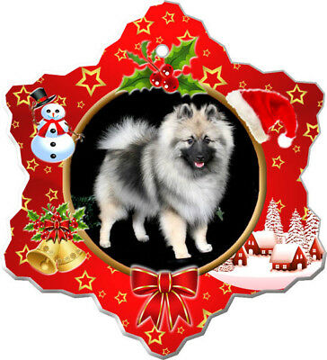 Keeshond Porcelain Ornament